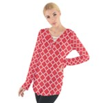 Red White Quatrefoil Classic Pattern Women s Tie Up Tee