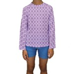 Purple Lilac White Quatrefoil Classic Pattern Kid s Long Sleeve Swimwear