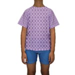 Purple Lilac White Quatrefoil Classic Pattern Kid s Short Sleeve Swimwear