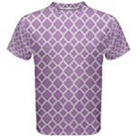 Purple Lilac White Quatrefoil Classic Pattern Men s Cotton Tee
