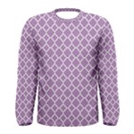 Purple Lilac White Quatrefoil Classic Pattern Men s Long Sleeve Tee