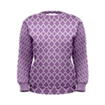 Lilac Purple Quatrefoil Pattern Women s Sweatshirt