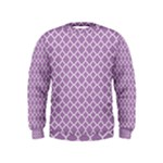 Purple Lilac White Quatrefoil Classic Pattern Kids  Sweatshirt