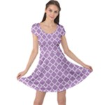 Lilac Purple Quatrefoil Pattern Cap Sleeve Dress