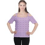 Lilac Purple Quatrefoil Pattern Women s Cutout Shoulder Tee
