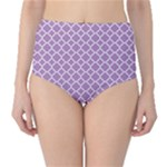Purple Lilac White Quatrefoil Classic Pattern High-Waist Bikini Bottoms