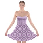 Lilac Purple Quatrefoil Pattern Strapless Bra Top Dress