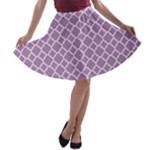 Lilac Purple Quatrefoil Pattern A-line Skater Skirt