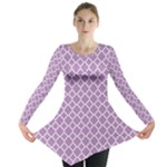 Purple Lilac White Quatrefoil Classic Pattern Long Sleeve Tunic
