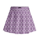 Lilac Purple Quatrefoil Pattern Mini Flare Skirt