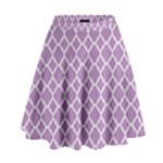 Lilac Purple Quatrefoil Pattern High Waist Skirt