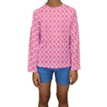 Soft Pink Quatrefoil Pattern Kid s Long Sleeve Swimwear