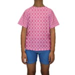 Soft Pink Quatrefoil Pattern Kid s Short Sleeve Swimwear