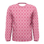 Soft Pink Quatrefoil Pattern Men s Long Sleeve Tee