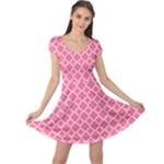 Soft Pink Quatrefoil Pattern Cap Sleeve Dress