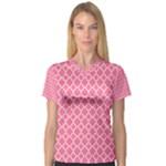 Soft Pink Quatrefoil Pattern Women s V-Neck Sport Mesh Tee