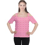 Soft Pink Quatrefoil Pattern Women s Cutout Shoulder Tee