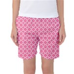 Soft Pink Quatrefoil Pattern Women s Basketball Shorts