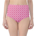 Soft Pink Quatrefoil Pattern High-Waist Bikini Bottoms