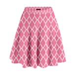 Soft Pink Quatrefoil Pattern High Waist Skirt