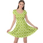 Spring green quatrefoil pattern Cap Sleeve Dress