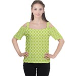 Spring green quatrefoil pattern Women s Cutout Shoulder Tee