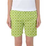 Spring green quatrefoil pattern Women s Basketball Shorts