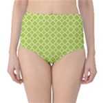 Spring green quatrefoil pattern High-Waist Bikini Bottoms