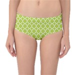 Spring green quatrefoil pattern Mid-Waist Bikini Bottoms