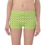 Spring green quatrefoil pattern Reversible Boyleg Bikini Bottoms