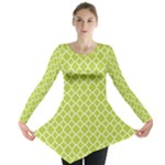 Spring green quatrefoil pattern Long Sleeve Tunic