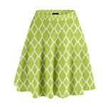 Spring green quatrefoil pattern High Waist Skirt