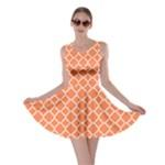 Tangerine orange quatrefoil pattern Skater Dress