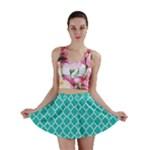 Turquoise quatrefoil pattern Mini Skirt