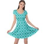 Turquoise quatrefoil pattern Cap Sleeve Dress