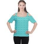 Turquoise quatrefoil pattern Women s Cutout Shoulder Tee