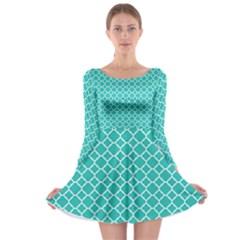 Turquoise Quatrefoil Pattern Long Sleeve Skater Dress by Zandiepants