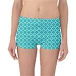 Turquoise quatrefoil pattern Reversible Boyleg Bikini Bottoms