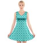 Turquoise quatrefoil pattern V-Neck Sleeveless Dress