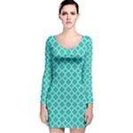 Turquoise quatrefoil pattern Long Sleeve Velvet Bodycon Dress
