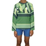 Abstract Jungle Green Brown Geometric Art Kid s Long Sleeve Swimwear