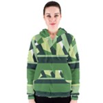 Abstract Jungle Green Brown Geometric Art Women s Zipper Hoodie