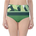 Abstract Jungle Green Brown Geometric Art High-Waist Bikini Bottoms