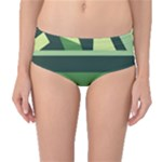 Abstract Jungle Green Brown Geometric Art Mid-Waist Bikini Bottoms