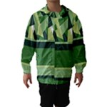 Abstract Jungle Green Brown Geometric Art Hooded Wind Breaker (Kids)