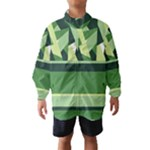 Abstract Jungle Green Brown Geometric Art Wind Breaker (Kids)