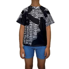 Funny Santa Black And White Typography Kid s Short Sleeve Swimwear by yoursparklingshop