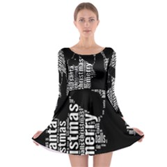 Funny Merry Christmas Santa, Typography, Black And White Long Sleeve Skater Dress by yoursparklingshop