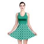 Emerald green quatrefoil pattern Reversible Skater Dress