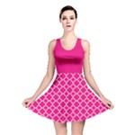 Hot pink quatrefoil pattern Reversible Skater Dress